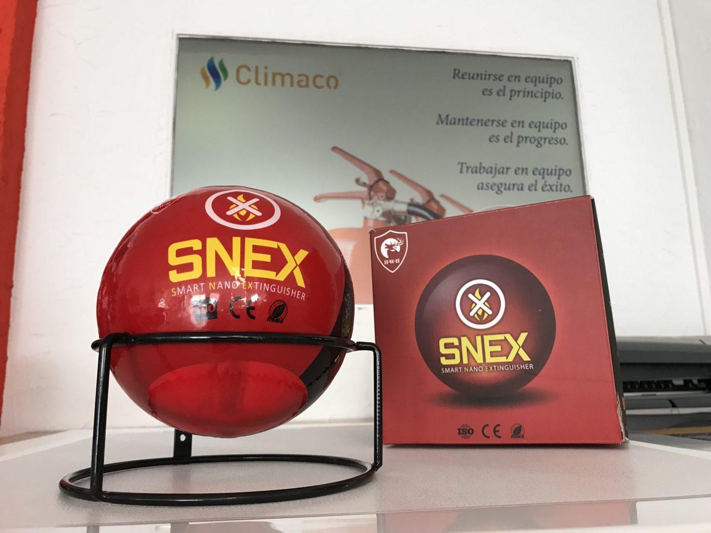 Bola para extinguir fuegos en industria. Snex climaco